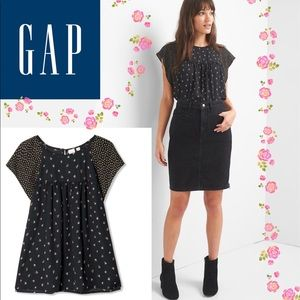 🆕Gap Floral flutter Top Women's Blouse Black Rose